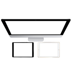 computer monitor and tablets vector image