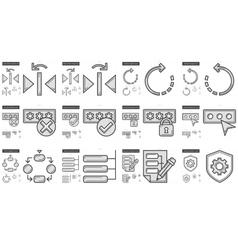 Content edition line icon set vector