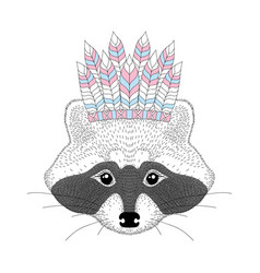 Cute raccoon with war bonnet on head vector