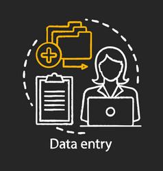 Data entry chalk icon typist transcriber clerk vector