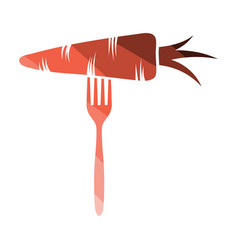 diet carrot on fork icon vector image