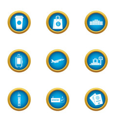 Duty free icons set flat style vector