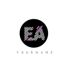 Ea letter logo design with white lines and black vector