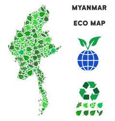 ecology green mosaic myanmar map vector image