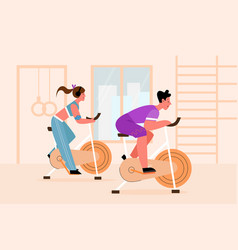 Exercise bike people training apparatus vector