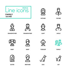 family - modern line design icons set vector image