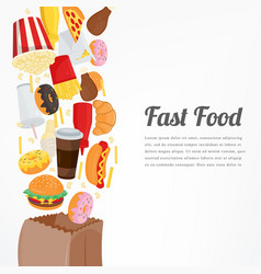 fast food background with colorful food icons vector image
