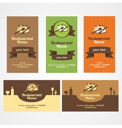 food restaurant business card set vector image