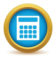 Gold calculator icon vector image