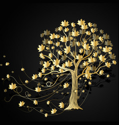 Gold maple tree vector