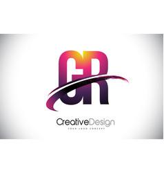 Gr g r purple letter logo with swoosh design vector