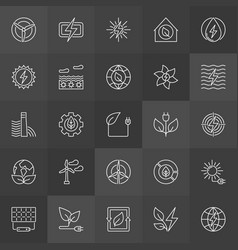 Green eco energy icons vector