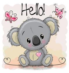 Greeting card cute cartoon koala vector