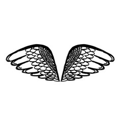 hand drawn angel or bird wing monochrome drawing vector image