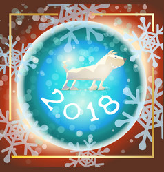 happy new year origami dog 2018 vector image