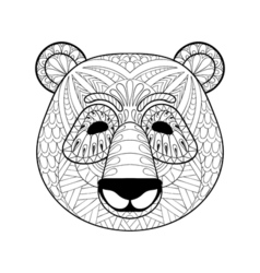 head panda in entangle style freehand sketch vector image