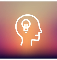 Human head with idea thin line icon vector image