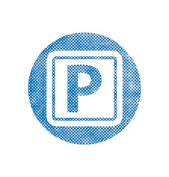 Isolated Parking Sign with pixel print halftone vector image