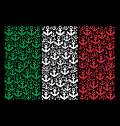 Italy flag pattern of anchor icons vector