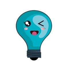kawaii cartoon bulb vector image