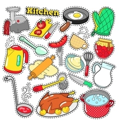 Kitchen Utensils Cooking Scrapbook Stickers vector image