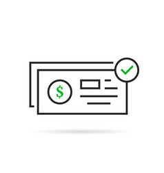 Linear bank check icon like payment vector