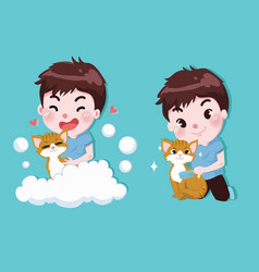 little boy is bathing with cute cats vector image