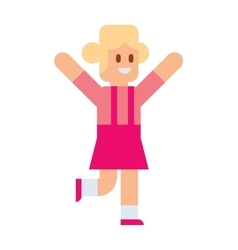 Little girl running training athlete healthy vector image