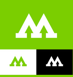 m letter with arrows flat monogram vector image