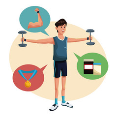 Man sports barbell training lifestyle vector