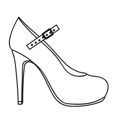 Monochrome silhouette of high heel shoe with belt vector