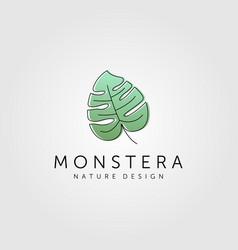 Monstera deliciosa leaf logo minimalist symbol vector