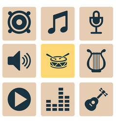 music icons set with microphone harp drum and vector image