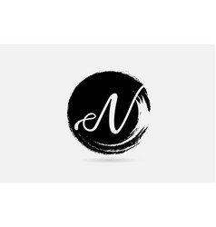 n letter logo alphabet on grunge circle in black vector image