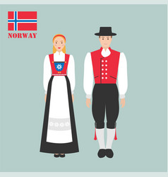 norwegian man and woman in traditional costumes vector image