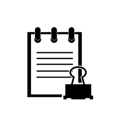 notepad and clerical pin icon vector image