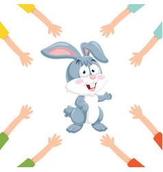 of cartoon hands with rabbit vector image
