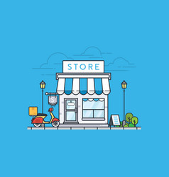 online store building on blue background vector image