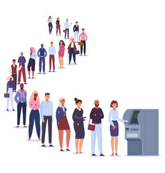 people in atm line male and female characters vector image