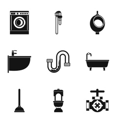 Plumbing icons set simple style vector