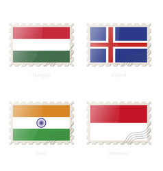 Postage stamp with image hungary iceland vector