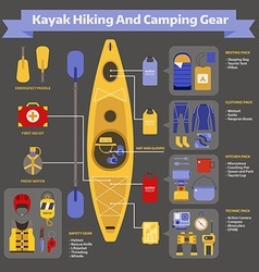 rafting and kayaking hike elements infographic vector image