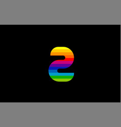 rainbow color colored colorful number 2 two logo vector image