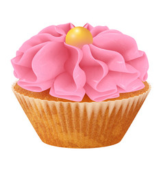 realistic cupcake muffins with cream 3d vector image