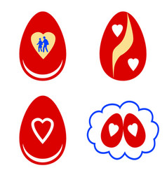 red easter eggs with white shapes vector image