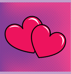red hearts over halftone background vector image