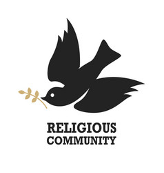 Religious community emblem template with dove vector