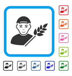 Rice farmer framed joy icon vector
