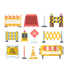road repair barriers set safety barricade warning vector image