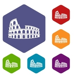 Roman Colosseum icons set vector